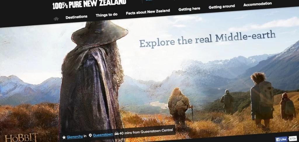 NewZealand.com y la promoción del turismo en páginas oficiales