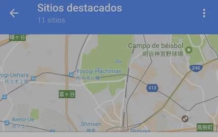 Google Maps suma listas para guardar lugares