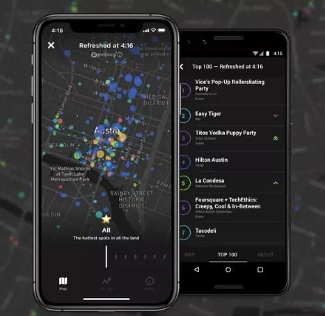 Foursquare Hypertrending: mapas y tendencias en tiempo real