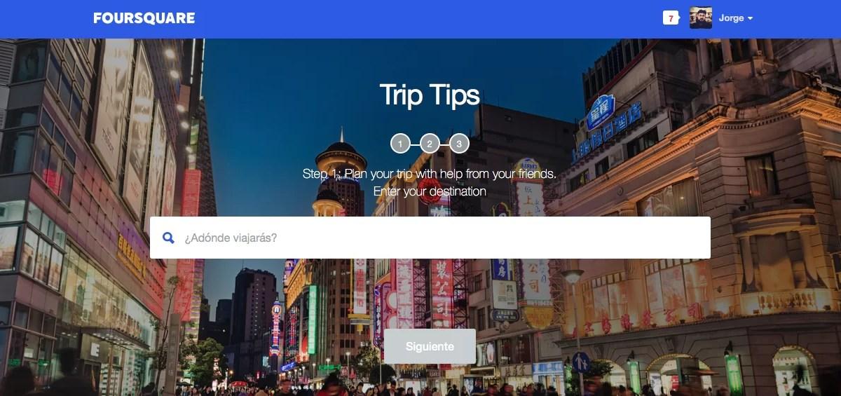 Foursquare y los consejos de viaje