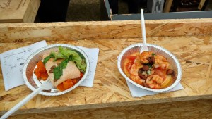 Trucha y langostinos de Atelier