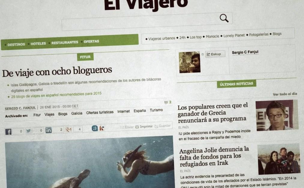 8 blogs y sus recomendaciones de viajes para 2015, en El País, España