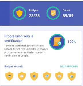 tableau de bord 289x300 - 5 raisons de passer la certification Digital Active de Google