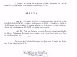 Prefeito decreta jejum para 'clamar a Deus' contra a dengue