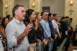 Luciano, Lucélio, Romero e Cássio participam da missa de 7º dia de Rômulo Gouveia