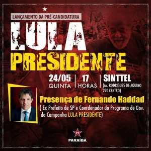 PT da PB lança pré-candidatura de Lula nesta quinta, com presença de Fernando Haddad