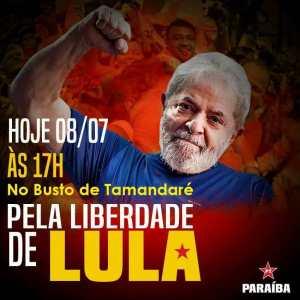 PT da Paraíba marca ato no Busto de Tamandaré em defesa da soltura de Lula