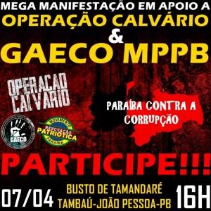 OPERAÇÃO CALVÁRIO : Movimentos convocam população a ato cívico contra a corrupção na Paraíba e em defesa do Gaeco/MPPB