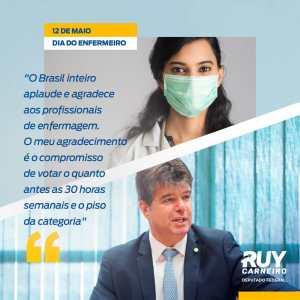 No Dia do Enfermeiro, Ruy assume compromisso de luta pelas 30h e plano salarial