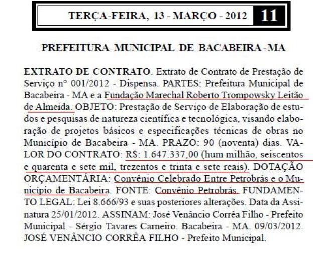 Diário Oficial do Estado mostra contrato de convênio da Petrobrás com a Prefeitura de Bacabeira. Foto: Reprodução