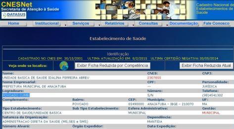 No último dia 08 de fevereiro, Prefeitura de Anajatuba informou ao Ministério da Saúde que a UBS de Cumbi estava em plena atividade