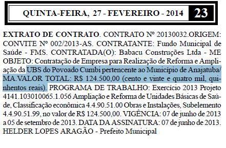 Prefeito de Anajatuba, Helder Lopes Aragão(PMDB), gastou mais de R$ 100 mil com reforma de posto fantasma