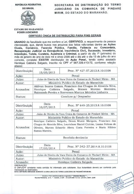 Certidão mostra alguns dos processos contra Henrique na Justiça.