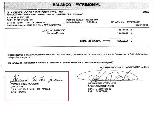 Documento mostra que contador da empreiteira é o mesmo da Câmara.