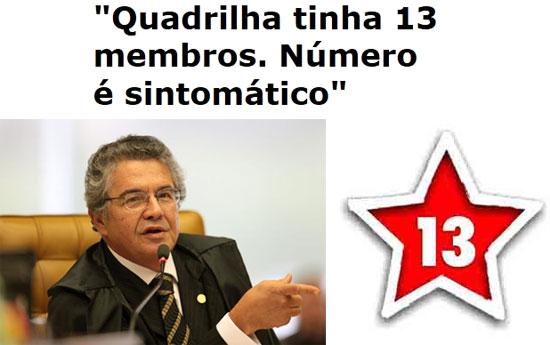 O ministro Marco Aurélio Mello destacou que o número de acusados de formação de quadrilha é o mesmo do PT