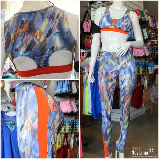 Top em suplex com tecido brilhoso (detalhe das costas) – Ref.: 0148 / Calça em suplex com tecido brilhoso (detalhe da calça) – Ref.: 0631