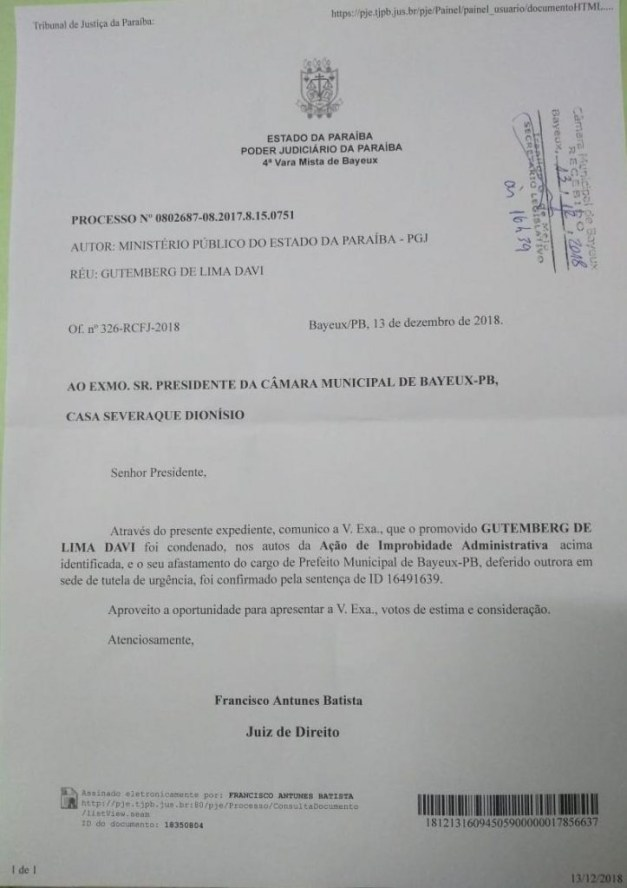 berg lima improbidade 723x1024 - POR IMPROBIDADE: justiça da Paraíba age rápido e expede ofício que confirma condenação de Berg Lima; veja documento