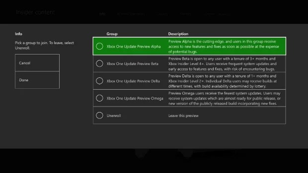 Xbox Insider System Update Selection