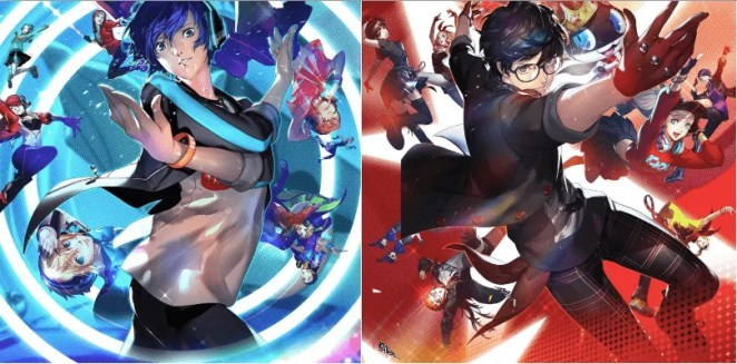 Cover art for both Persona 3: Dancing Moon Night and Persona 5: Dancing Star Night.