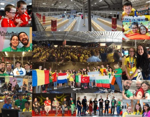 Montage of photos from Coolest Projects 2016: a large space with lots of people, mostly children, sharing projects, socialising, and discussing