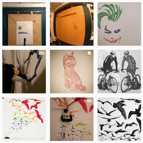 A 3 x 3 grid of varied and colourful images from inkylinespolargraph's Instagram feed
