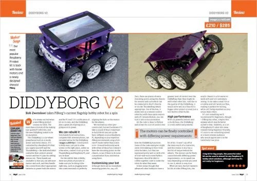Diddyborg V2 review in The MagPi 70 — Raspberry Pi home automation and tech upcycling