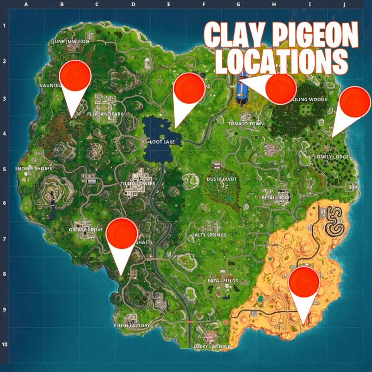 fortnite clay pigeons locations guide where to find them season 5 week 3 challenges - clay fortnite map