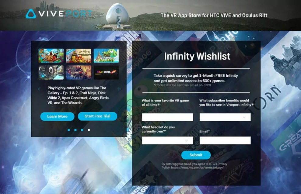 Explore the Infinity with one month FREE of Viveport Infinity