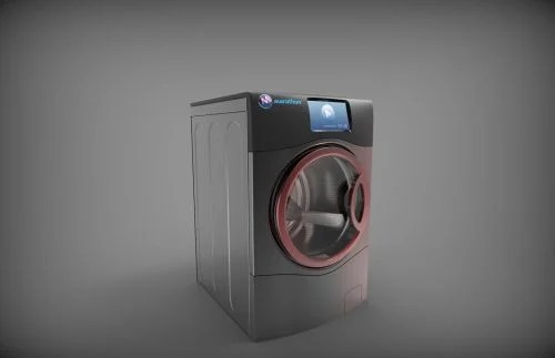 Sleek-looking charcoal grey washing machine with a dark red door trim and a large colour display screen