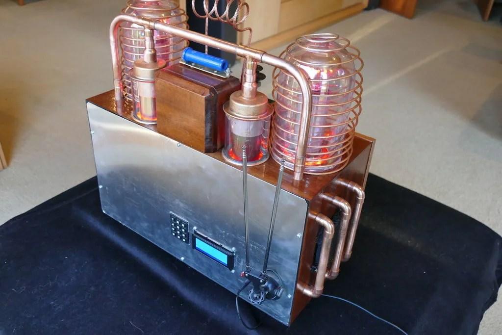 Steampunk radio and clock display with dual Arduino Mega