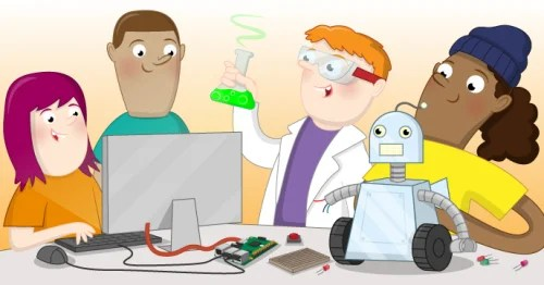 illustration of kids with a computer, robot, and erlenmeyer flask