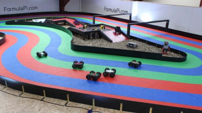 MonsterBorg robots being used at a Formula Pi autonomous racing event