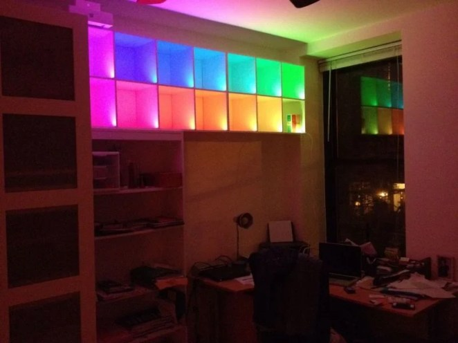 What else could you do with Raspberry Pi-controlled lights? How about a multi-coloured bookshelf light display?