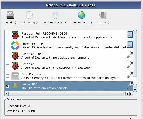 NOOBS (New Out Of Box Software) is used to install operating systems such as Lakka on Raspberry Pi