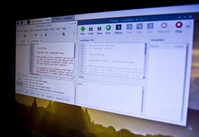 Use a text editor to craft the code to control your Raspberry Pi