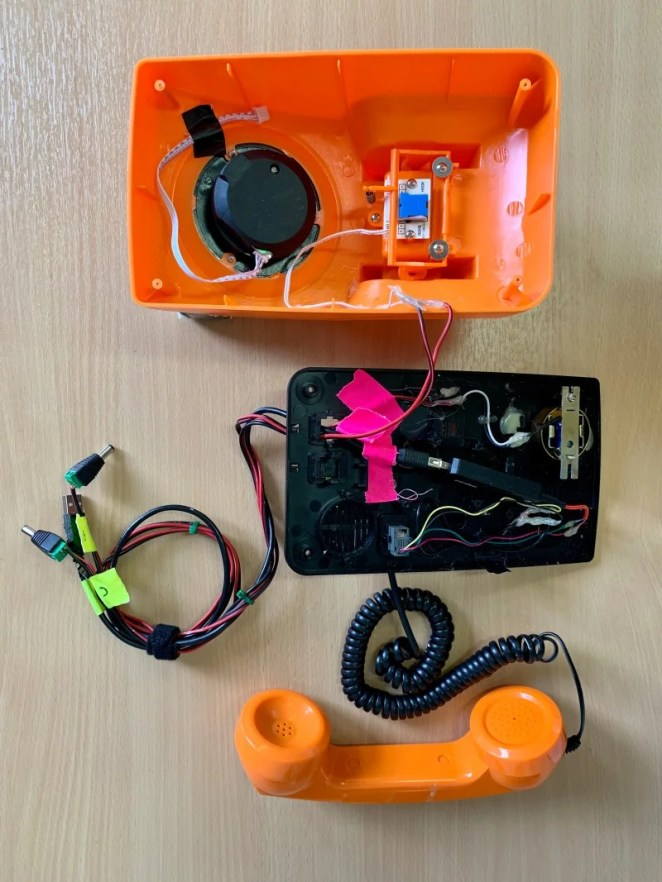 Maker Dave Norton says it was easy to snip the wires from each dial phone's speaker, microphone and hang-up button and connect them to Raspberry Pi