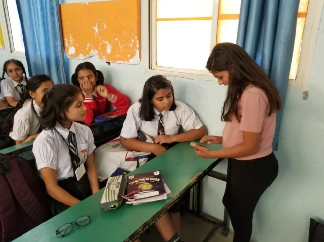 Sania Jain shares her love of coding and technology with pupils at at school in India