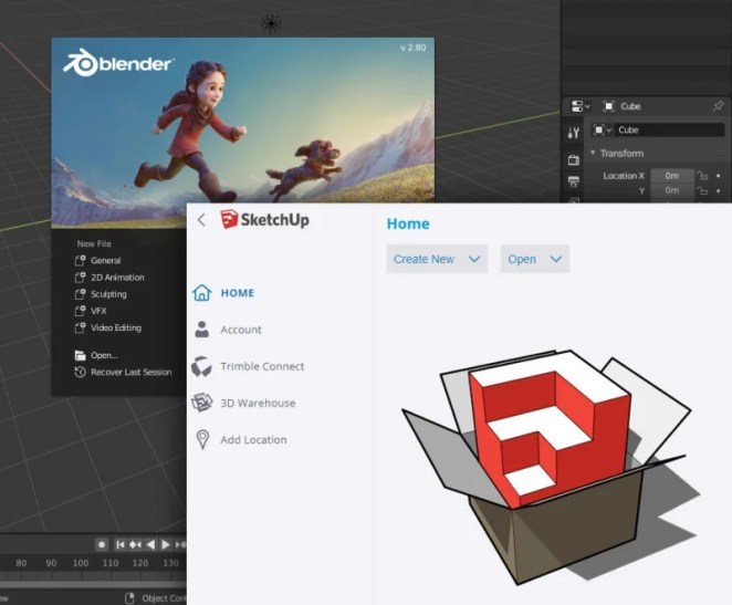 3D creation software such as Blender and SketchUp help you visualise and plan your project