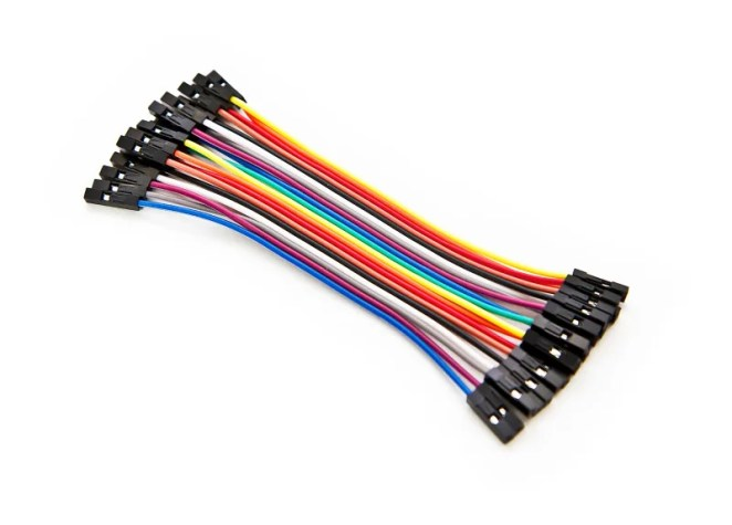 Jumper wires connect components on a breadboard or can be soldered directly to it