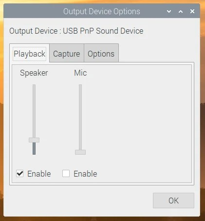 Example of Output Device Settings menu of Raspberry Pi Desktop