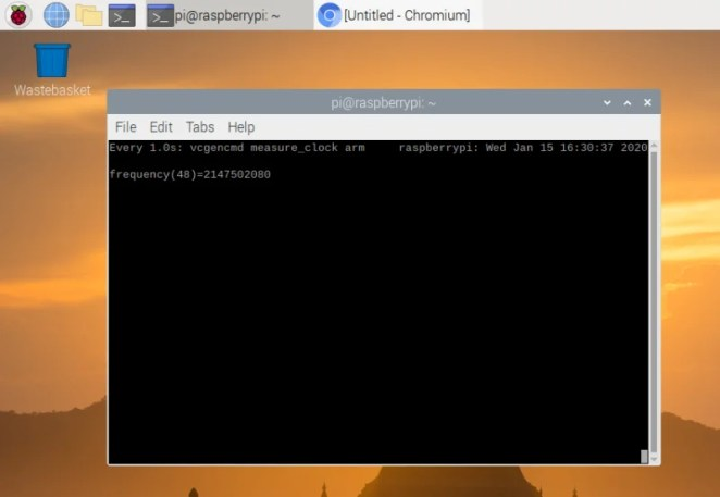The watch vcgencmd command is used to keep an eye on the current CPU speed