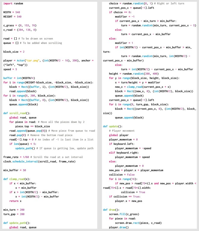 Our rolling road Python code