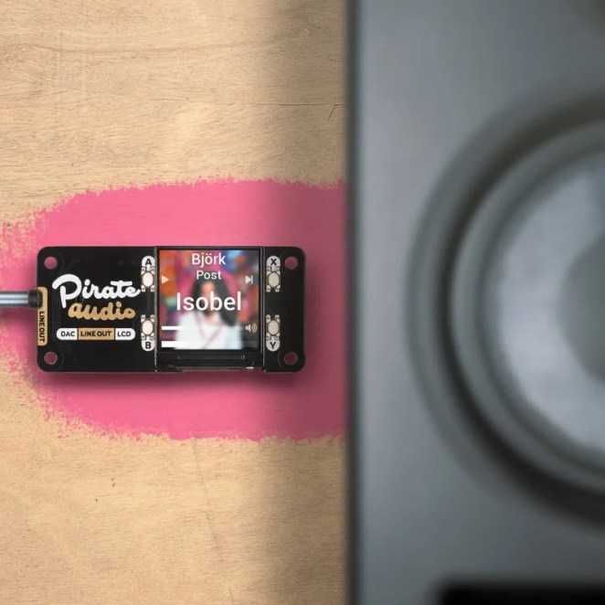 The Pirate Audio Headphone Amp has a line out for use with powered speakers