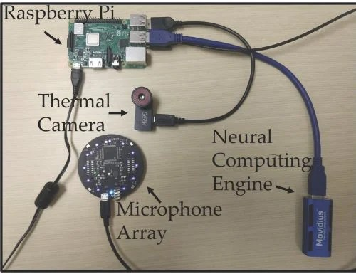A bird's-eye view of the components inside the Flu Sense device