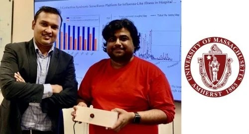 A photo of Forsad Al Hossain and Tauhidur Rahman with the FluSense device alongside a logo from the Amherst University of Massachusetts