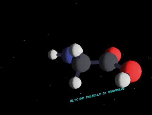 3D model of a glycine molecule