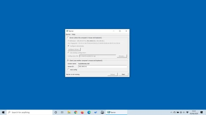 Barrier on the Windows PC and is set up in client mode. Here is our server configuration