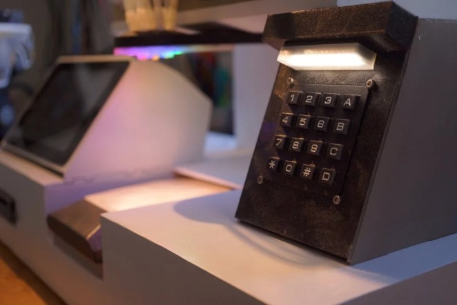 close up of the black keypad
