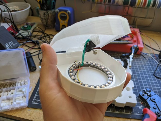 Inside the cup dispenser sensor showing the switch and LEDs
