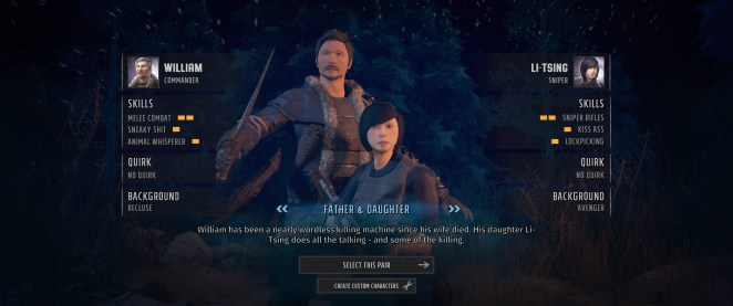 Wasteland 3 character select screen